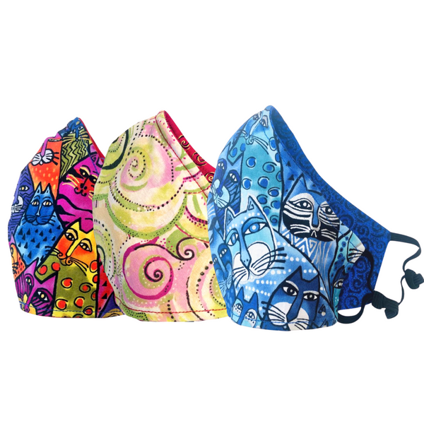 3-Pack Multi Feline Frolic, Swirls and Blue Feline Frolic Reversible Cotton Face Masks