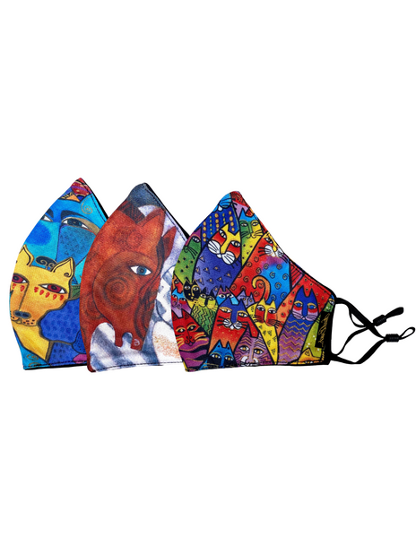3-Pack Dog and Doggies, Horses, Feline Tribe Adjustable Poly-Cotton Face Masks