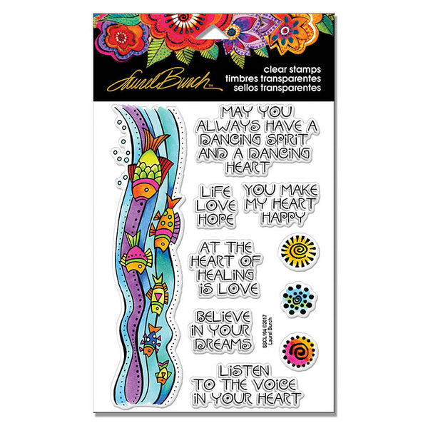 Fish Wishes Perfectly Clear Stamps Stamps Laurel Burch Studios - Laurel Burch Studios