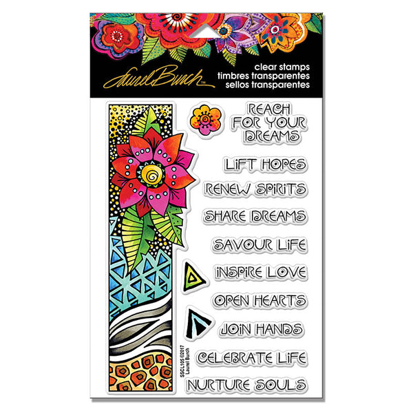 Flora Wishes Perfectly Clear Stamps Stamps Laurel Burch Studios - Laurel Burch Studios