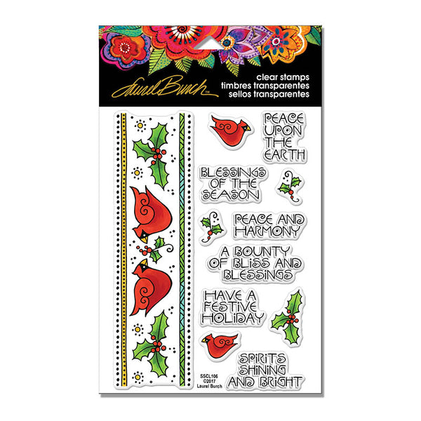 HOLIDAY!  Cardinal Border Perfectly Clear Stamps Stamps Laurel Burch Studios - Laurel Burch Studios
