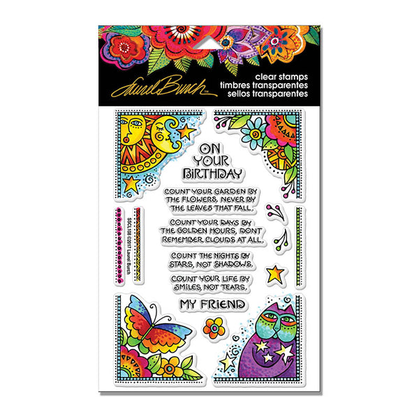 Birthday Corners Perfectly Clear Stamps Stamps Laurel Burch Studios - Laurel Burch Studios