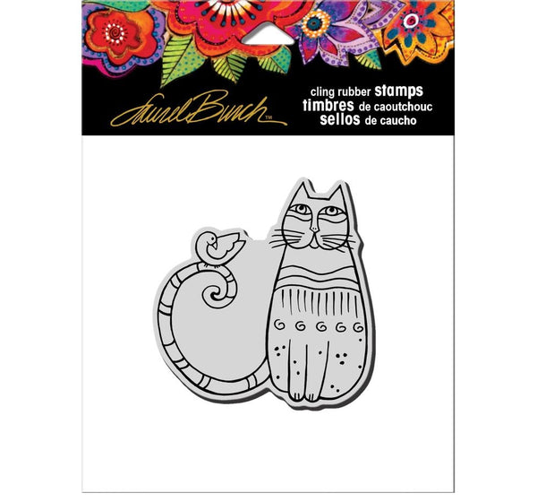 Cat and Feathered Friend Cling Stamp Set Stamps Laurel Burch Studios - Laurel Burch Studios