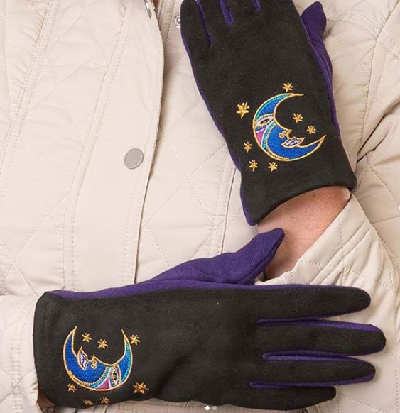 Brother Moon Embroidered Glove Gloves Howards - Laurel Burch Studios