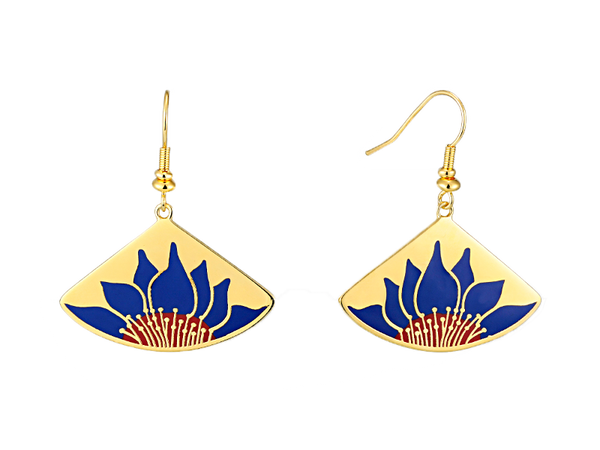 Lotus Earrings - Blue/Gold Jewelry Laurel Burch Jewelry - Laurel Burch Studios