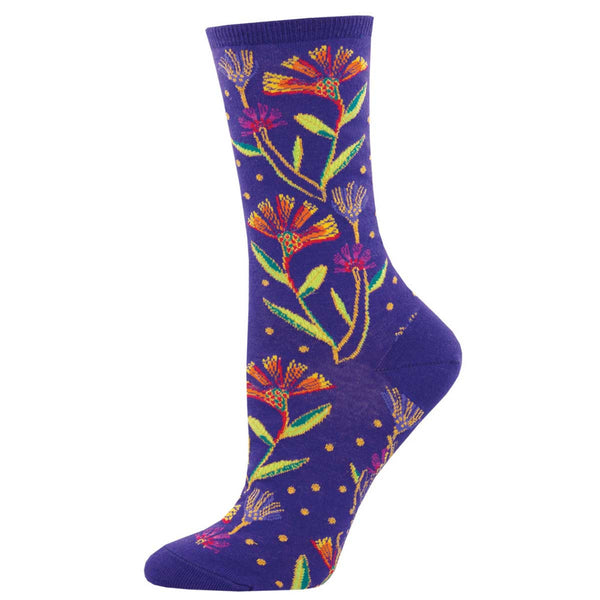Women's Wildflowers Crew Socks – Purple