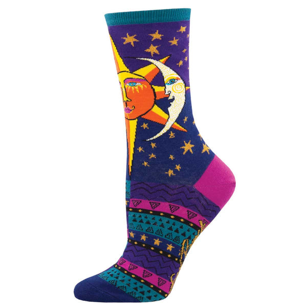Women's Sun and Moon Crew Socks – Purple