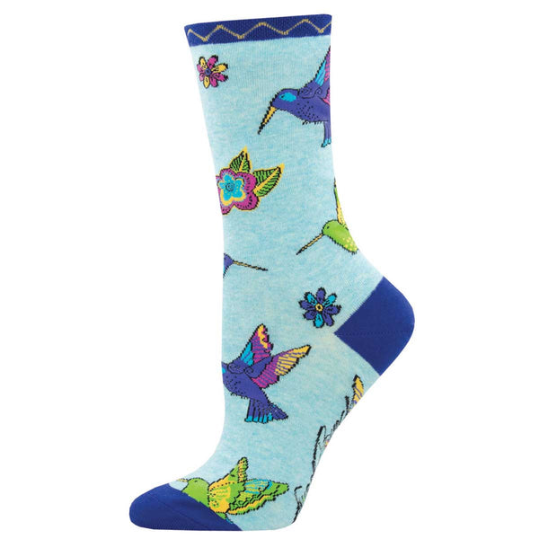 Women's Hummingbird Blossom Crew Socks – Blue Heather