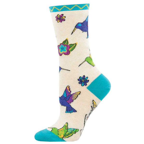 Women's Hummingbird Blossom Crew Socks – Ivory Heather