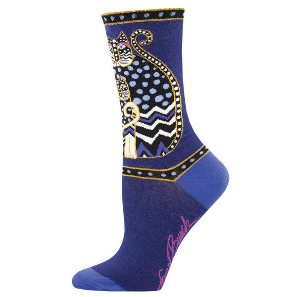 Women's Polka Dot Cat Crew Socks – Blue