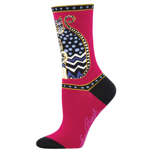 Women's Polka Dot Cat Crew Socks – Red