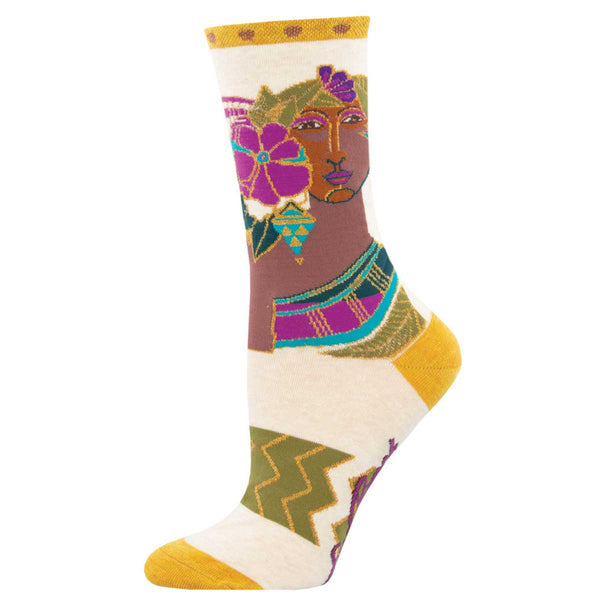 Blossoming Woman  Women's Crew Socks – Ivory Heather
