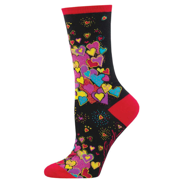 Women's Dancing Hearts Crew Socks – Black