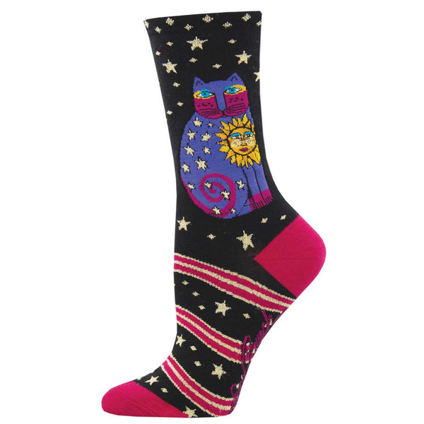 Women's Celestial Sun Cat Crew Socks – Black