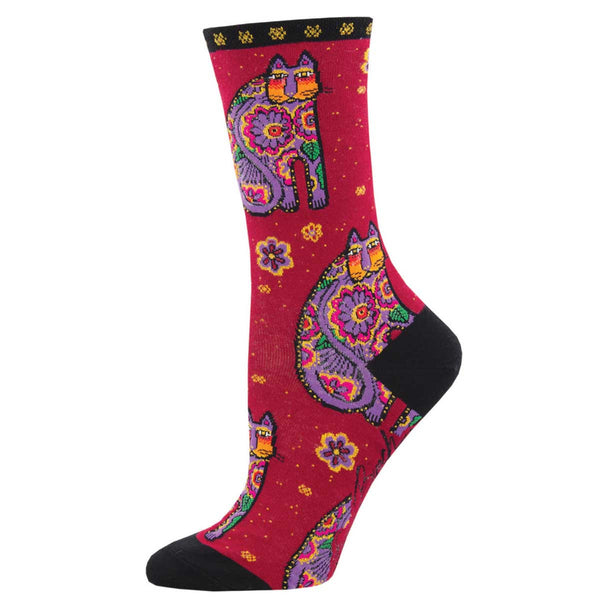 Women's Thanks Cat Crew Socks – Red