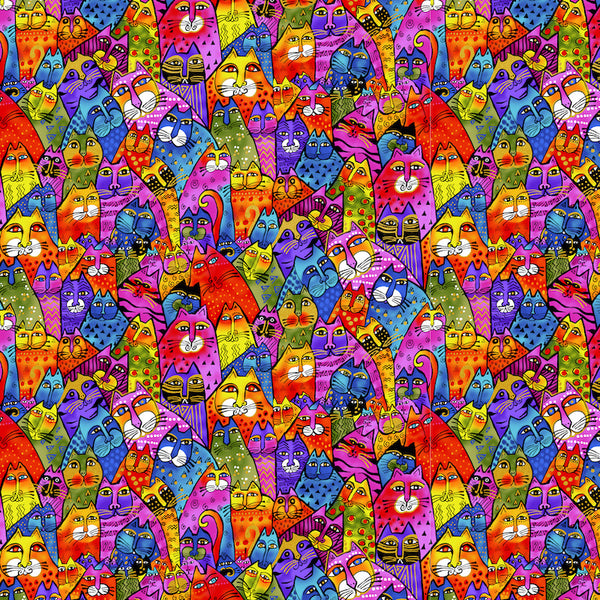 Multi Feline Frolic Fabric-by-the-Yard
