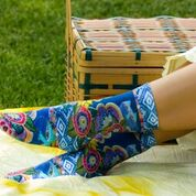 Women's Cat With Flowers Crew Socks Women's Socks K. Bell Socks - Laurel Burch Studios