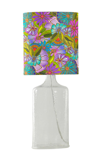 Aqua Lavendar Floral Lamp Lamp Narrative Decor - Laurel Burch Studios