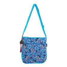 Blue Florals Quilted Crossbody