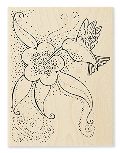 Hummingbird Blossoms Wooden Rubber Stamp Stamps Laurel Burch Studios - Laurel Burch Studios