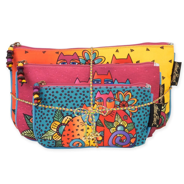 Feline Clan Three In One Cosmetic Bag Set Bags Sun'N'Sand - Laurel Burch Studios