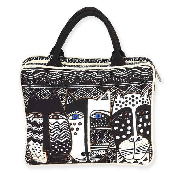 Wild Cat Black & White Cosmetic Travel Tote Bags Sun'N'Sand - Laurel Burch Studios