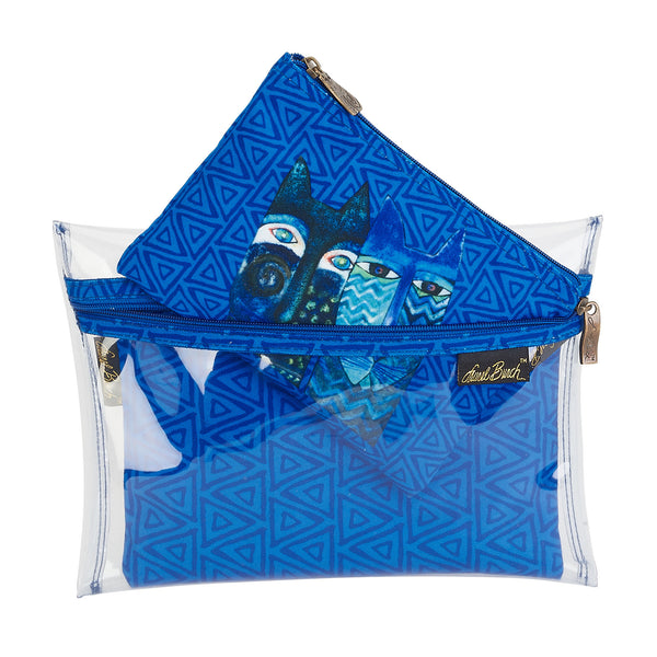Blue Cats Set of 3 Cosmetic Bags Bags Sun'N'Sand - Laurel Burch Studios