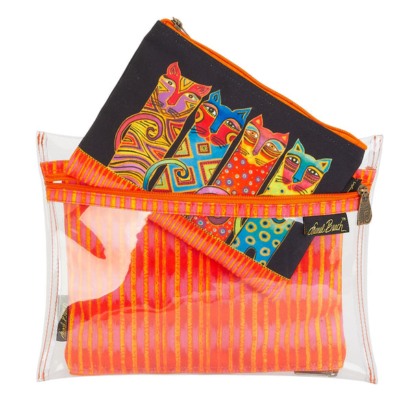 Feline Clan Set of 3 Cosmetic Bags Bags Sun'N'Sand - Laurel Burch Studios