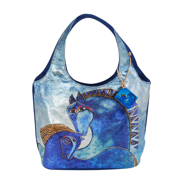 Teal Mares Foiled Canvas Small Scoop Tote Bags Sun'N'Sand - Laurel Burch Studios