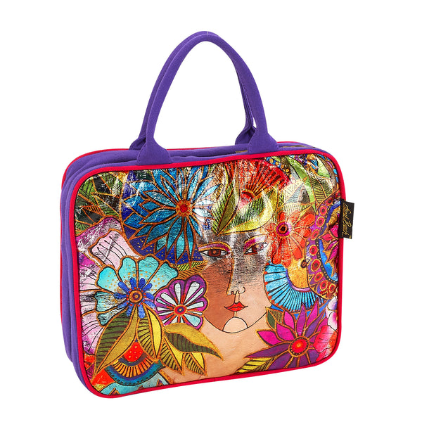 Blossoming Woman Foiled Canvas Cosmetic Travel Tote Bags Sun'N'Sand - Laurel Burch Studios