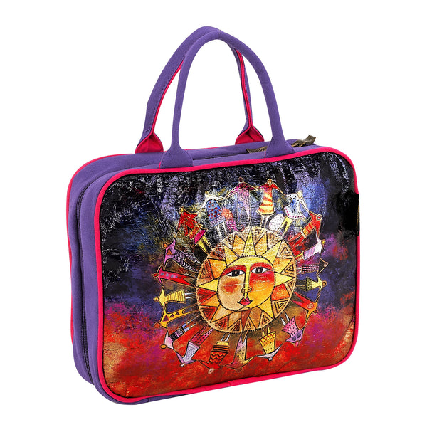 Harmony Under the Sun Foiled Canvas Cosmetic Travel Tote Bags Sun'N'Sand - Laurel Burch Studios
