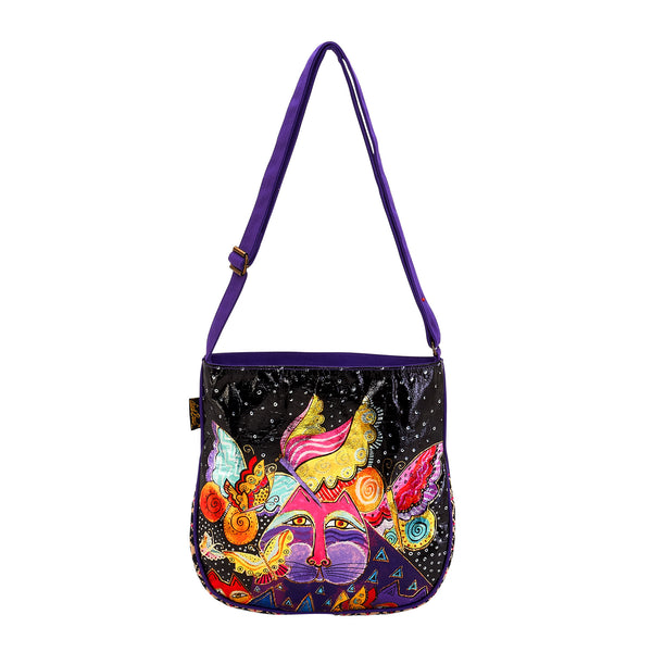 Feline and Flutterbyes Foiled Canvas Crossbody Bag Bags Sun'N'Sand - Laurel Burch Studios