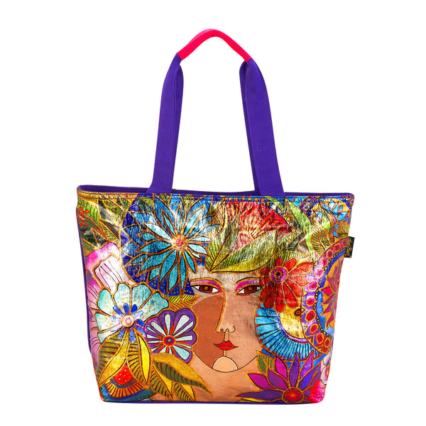 Blossoming Woman Foiled Canvas Shoulder Tote Bags Sun'N'Sand - Laurel Burch Studios