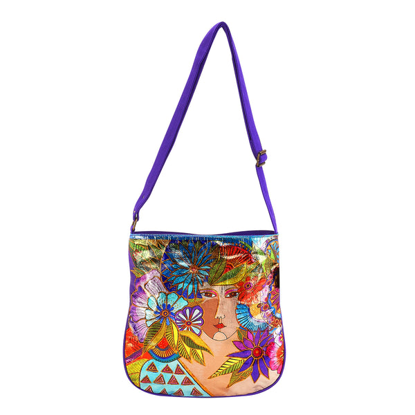 Blossoming Woman Foiled Canvas Crossbody Bag Bags Sun'N'Sand - Laurel Burch Studios