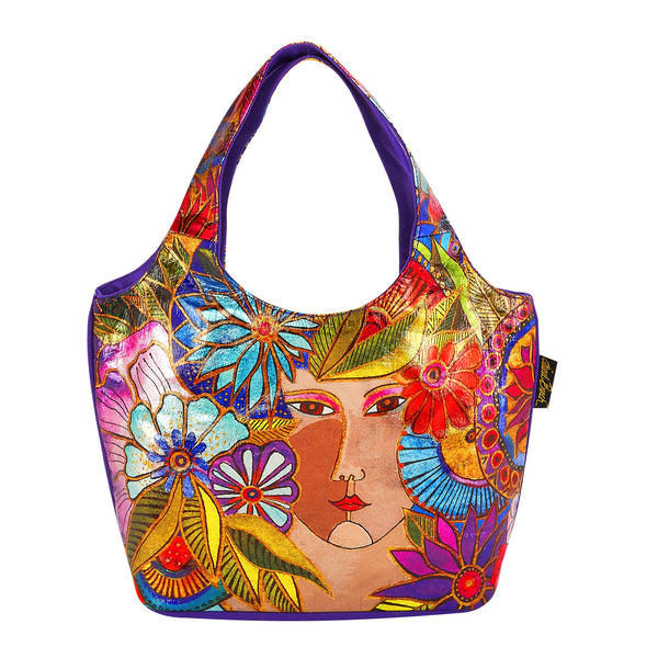 Blossoming Woman Foiled Canvas Small Scoop Tote Bags Sun'N'Sand - Laurel Burch Studios