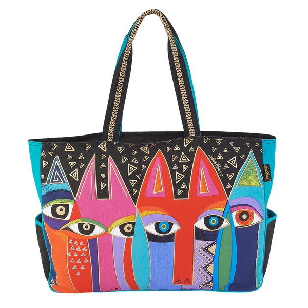 Tribal Cats Oversized Tote Bags Sun'N'Sand - Laurel Burch Studios