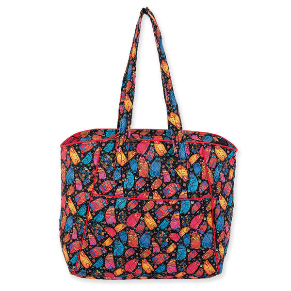 Multi Feline Large Quilted Shoulder Tote Bags Laurel Burch Studios - Laurel Burch Studios