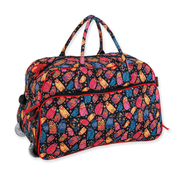 Multi Feline Quilted Wheeled Duffle Bag Bags Laurel Burch Studios - Laurel Burch Studios