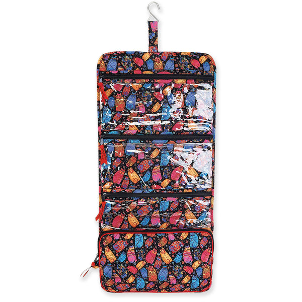 Multi Feline Trifold Hanging Quilted Toiletry Organizer