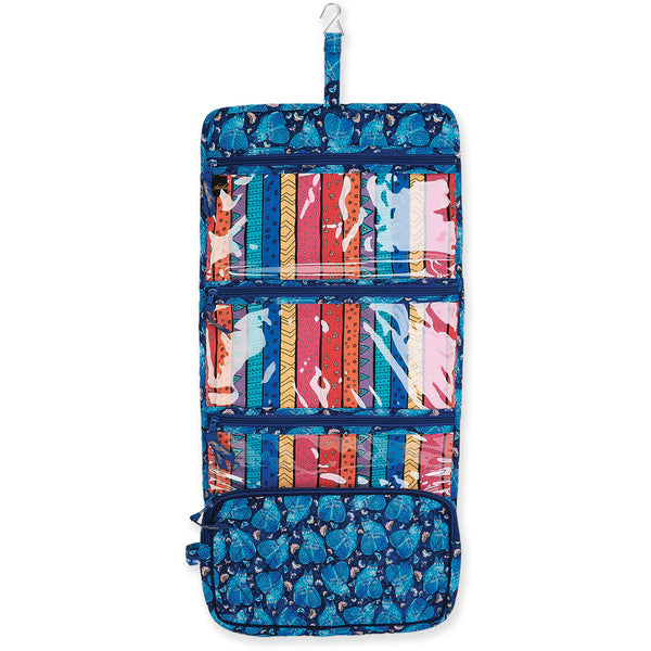 Indigo Cats Trifold Hanging Quilted Toiletry Organizer Bags Laurel Burch Studios - Laurel Burch Studios