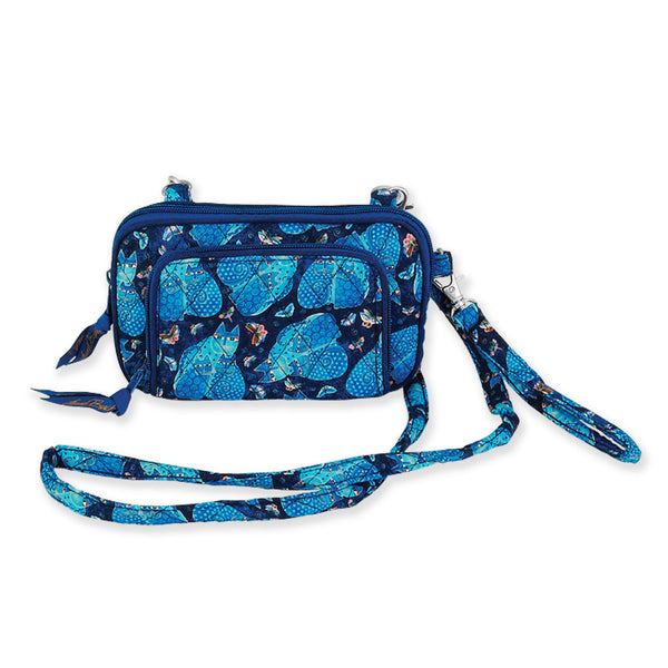 Indigo Cats All in One Quilted Crossbody Bag Bags Laurel Burch Studios - Laurel Burch Studios