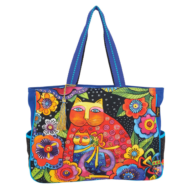 Mother Daughter in Flowers Oversized Tote Bags Laurel Burch Studios - Laurel Burch Studios