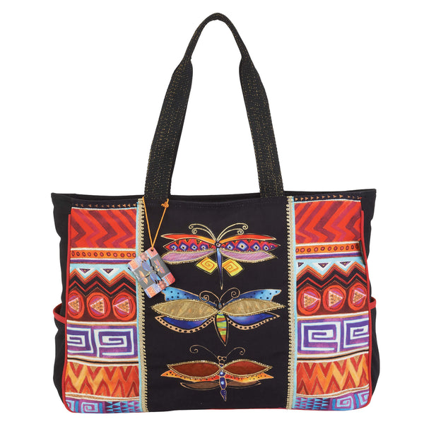 Colorful Dragonflies Oversized Tote Bags Laurel Burch Studios - Laurel Burch Studios
