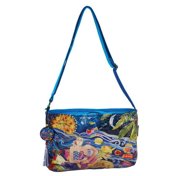 Ocean Songs Foiled Canvas Crossbody Bags Sun'N'Sand - Laurel Burch Studios