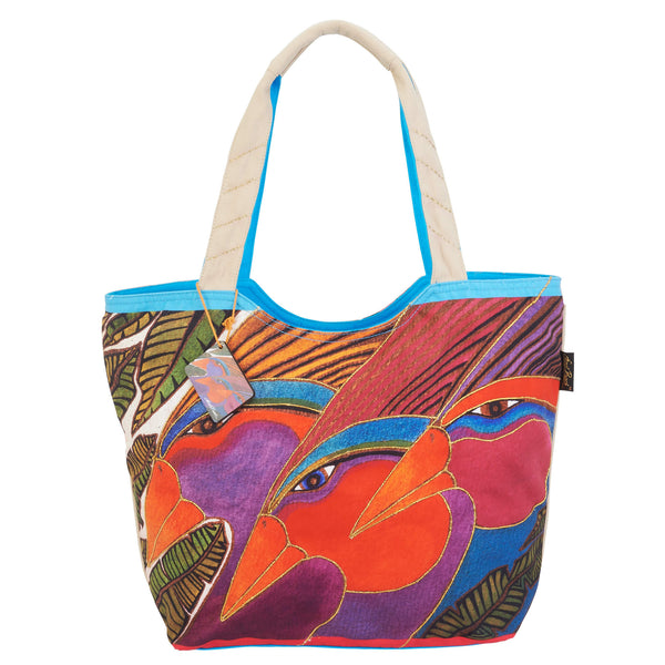 Harlequin Birds Scoop Tote Bags Sun'N'Sand - Laurel Burch Studios