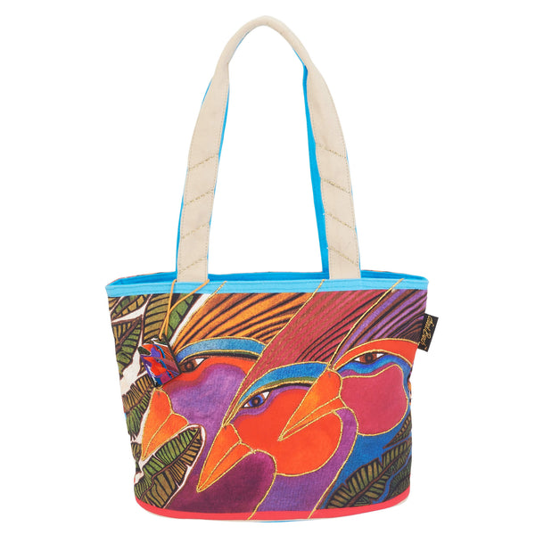 Harlequin Birds Medium Shoulder Tote Bags Sun'N'Sand - Laurel Burch Studios
