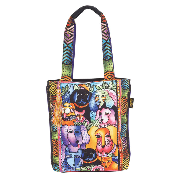 Canine Clan Stacked N/S Shoulder Tote Bags Laurel Burch Studios - Laurel Burch Studios