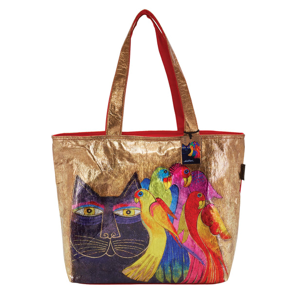 Ebony Cat & Bird Foiled Canvas Shoulder Tote Bags Sun'N'Sand - Laurel Burch Studios