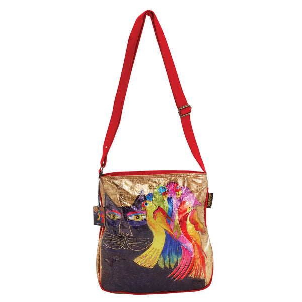 Ebony Cat & Bird Foiled Canvas Crossbody Bags Sun'N'Sand - Laurel Burch Studios