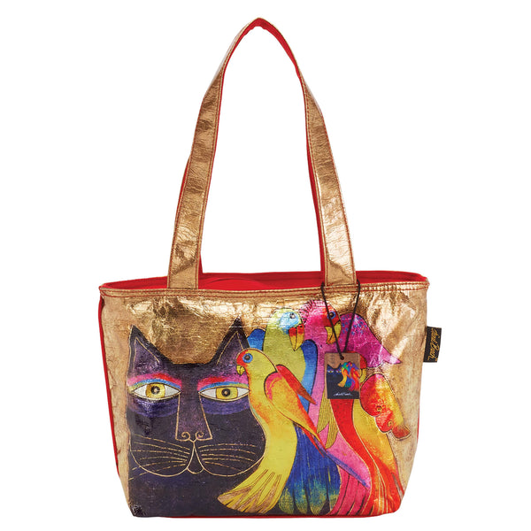 Ebony Cat & Bird Foiled Canvas Medium Tote Bags Sun'N'Sand - Laurel Burch Studios